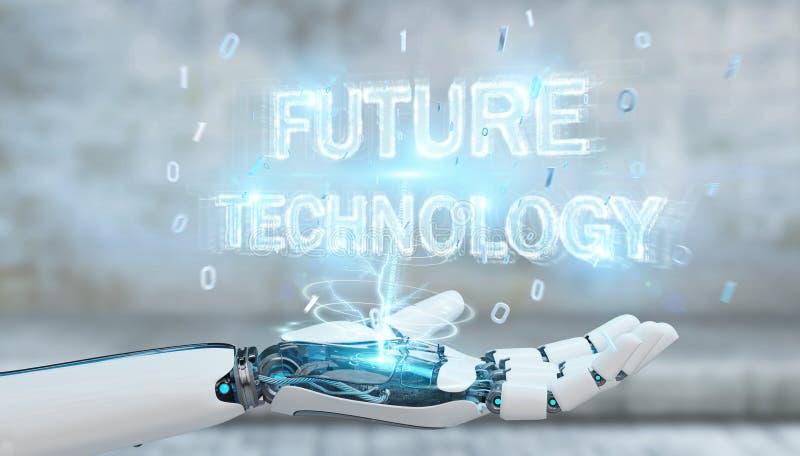 Weiße Roboterhand unter Verwendung des zukünftigen Technologietexthologramms 3D übertragen stock abbildung