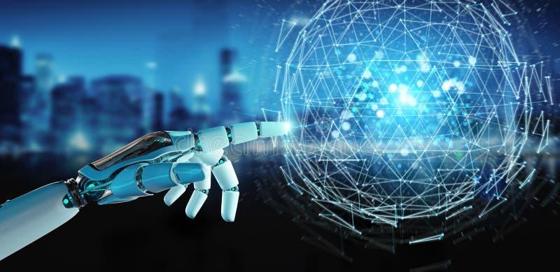 Weiße Roboterhand unter Verwendung explodierenden hologra Bereich des digitalen Dreiecks vektor abbildung