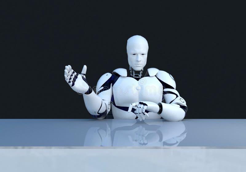 Weiße Robotertechnologie, die etwas erklärt Technologie in der Zukunft, auf einem schwarzen Hintergrund stock abbildung
