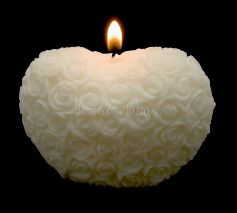 Weiße Rose-Inner-Kerze stockfotografie