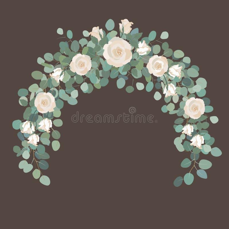 Weiße Rosen-Blumen Und Silberner Dollar Eukalyptusgirlande, Runder ...