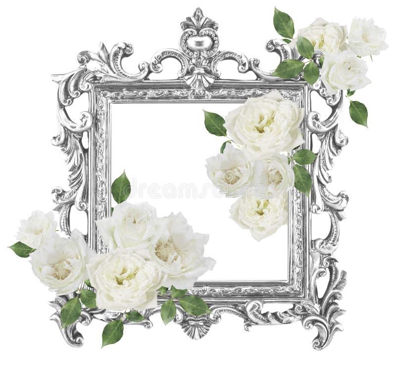 Weiße Rosen des antiken goldenen Rahmens herum lokalisiert auf weißem backgr stockbilder