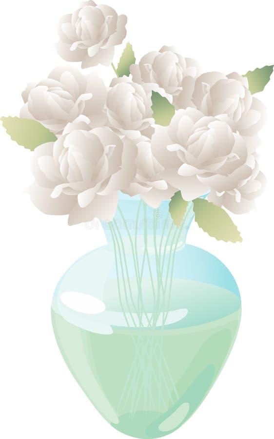 Weiße Rosen in einem Vase vektor abbildung