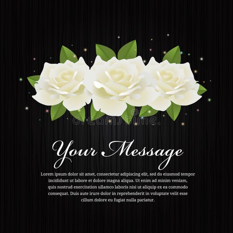 Weiße Rosen und Blatt auf schwarzem hölzernem Hintergrundvektor entwerfen lizenzfreie abbildung