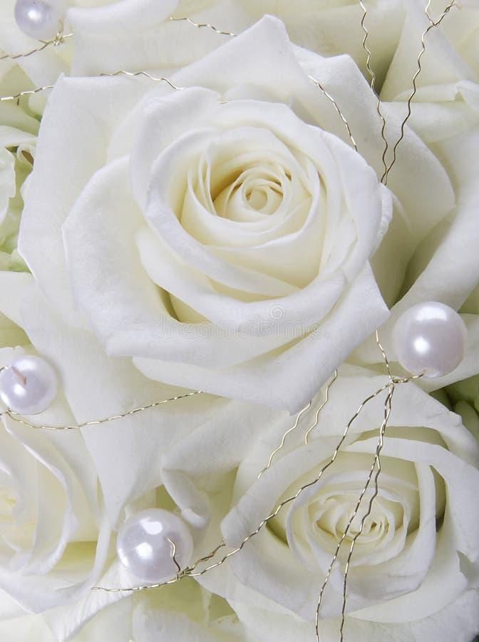 Weiße Rosen und Perlen stockbilder