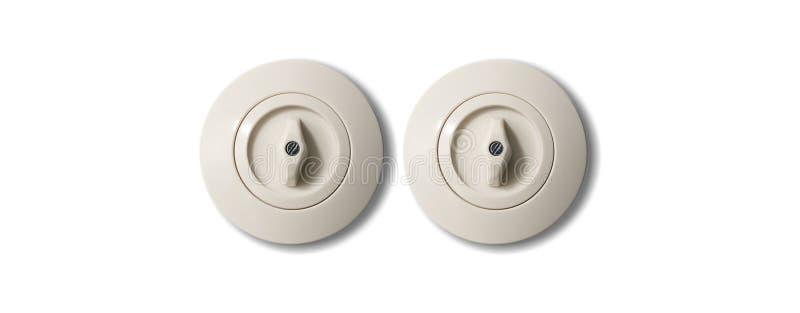 Weiße Runde der Weinlese mit zwei Schaltern mit dem Knopf lokalisiert auf weißem Hintergrund Schließen Sie herauf Ansicht mit Det stockbild