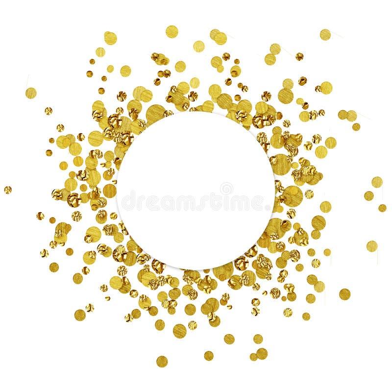 Weiße runde Karte auf zerstreuten Goldkonfettis stock abbildung