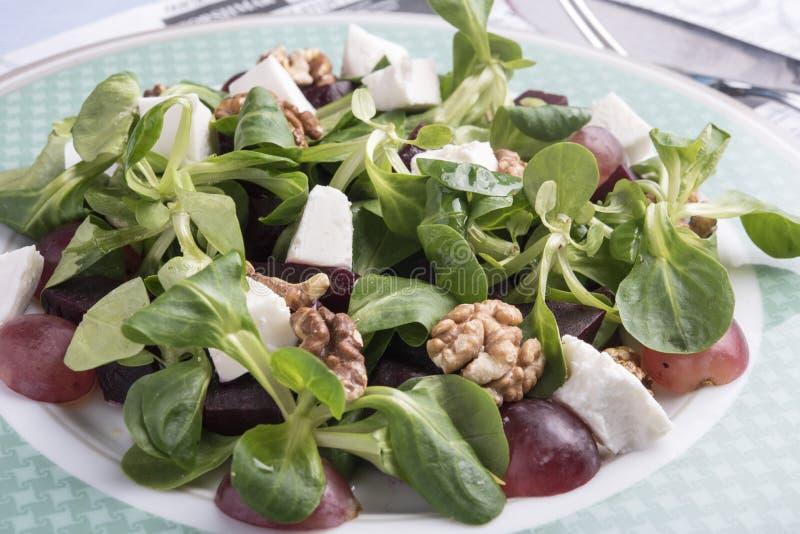 Weiße Salatschüssel mit Spinat, Quinoa, Walnüssen und Trauben lizenzfreie stockbilder