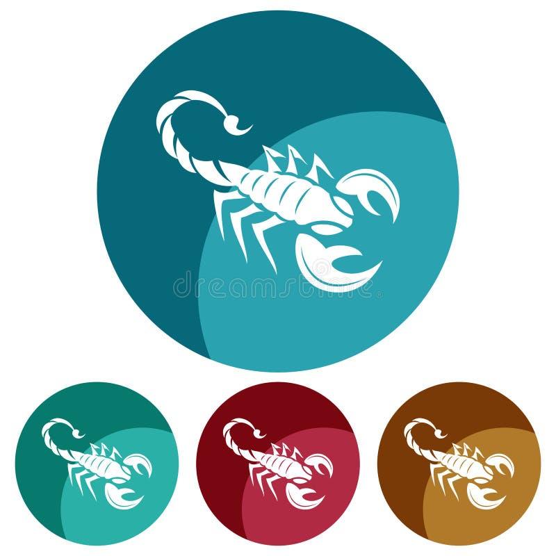 Weiße Schattenbildikone des Kreis-, flachen Skorpions Vier Farbveränderungen vektor abbildung