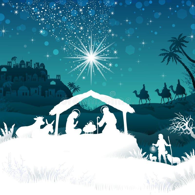 Weiße Schattenbildkrippe auf Bethlehem lizenzfreie stockbilder