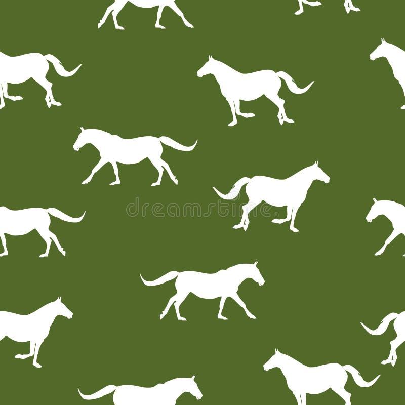Weiße Schattenbildpferde des nahtlosen Musters, die auf Grün laufen lizenzfreie abbildung