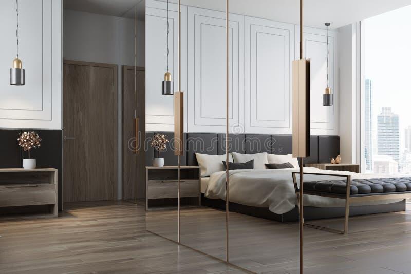 Weiße Schlafzimmerinnenraumreflexion stock abbildung