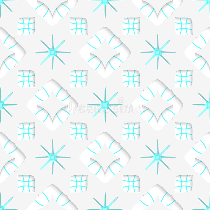 Weiße Schneeflocken auf der blauen flachen Verzierung nahtlos stock abbildung