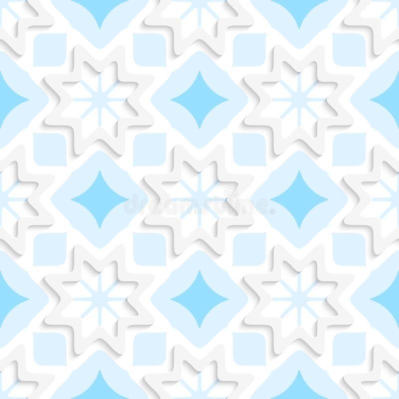 Weiße Schneeflocken auf der flachen blauen Verzierung nahtlos stock abbildung