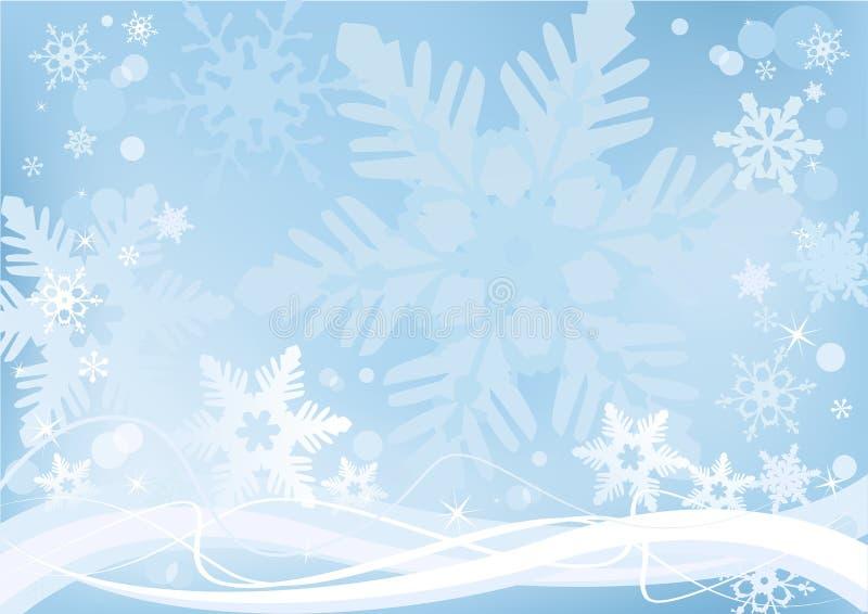 Weiße Schneeflocken auf einem blauen Hintergrund stock abbildung