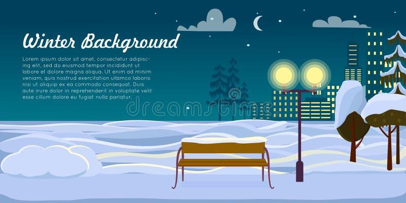 Weiße Schneeflocken auf einem blauen Hintergrund Am 12 Weihnachtsmann trägt Geschenke vektor abbildung