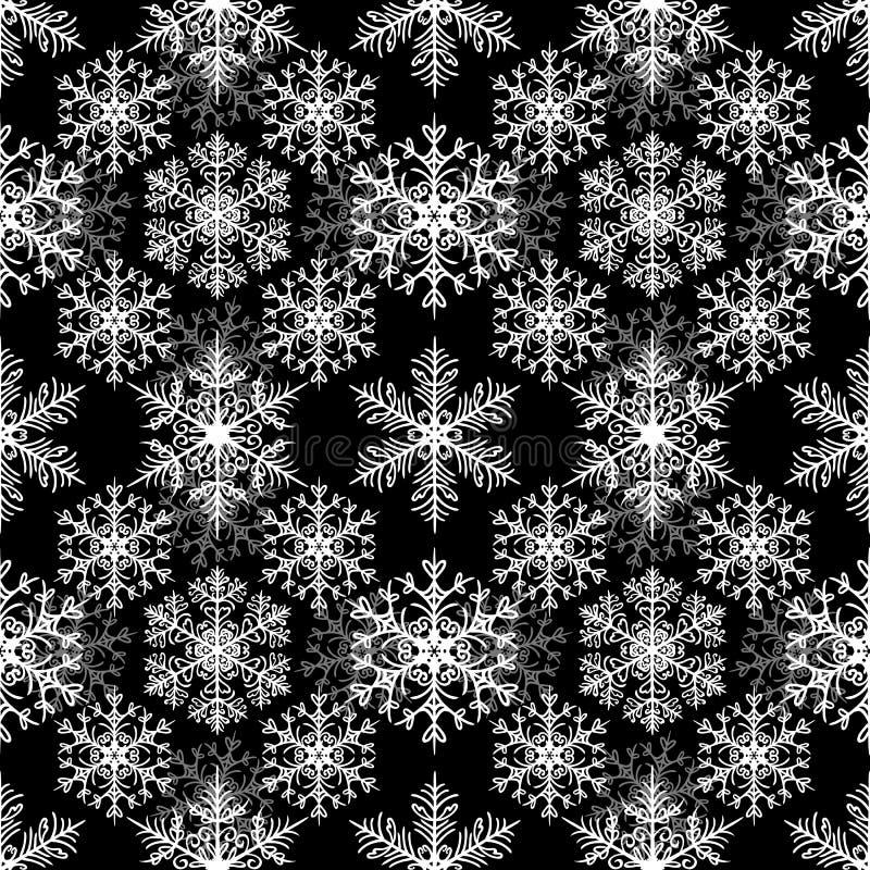 Weiße Schneeflocken auf schwarzem Hintergrund Weihnachtsnahtloses Muster vektor abbildung