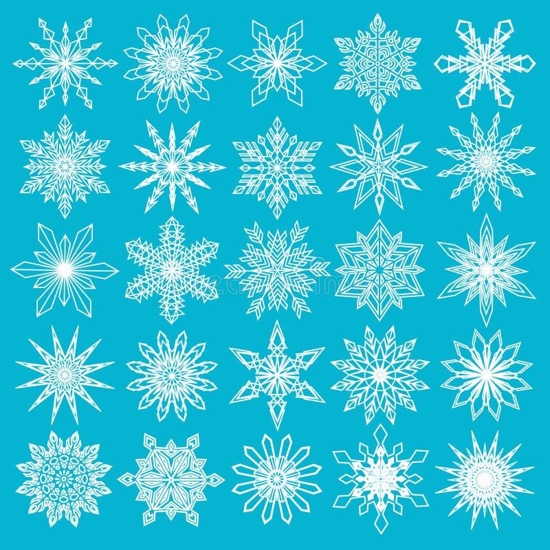 Weiße Schneeflocken eingestellt auf blauen Hintergrund vektor abbildung