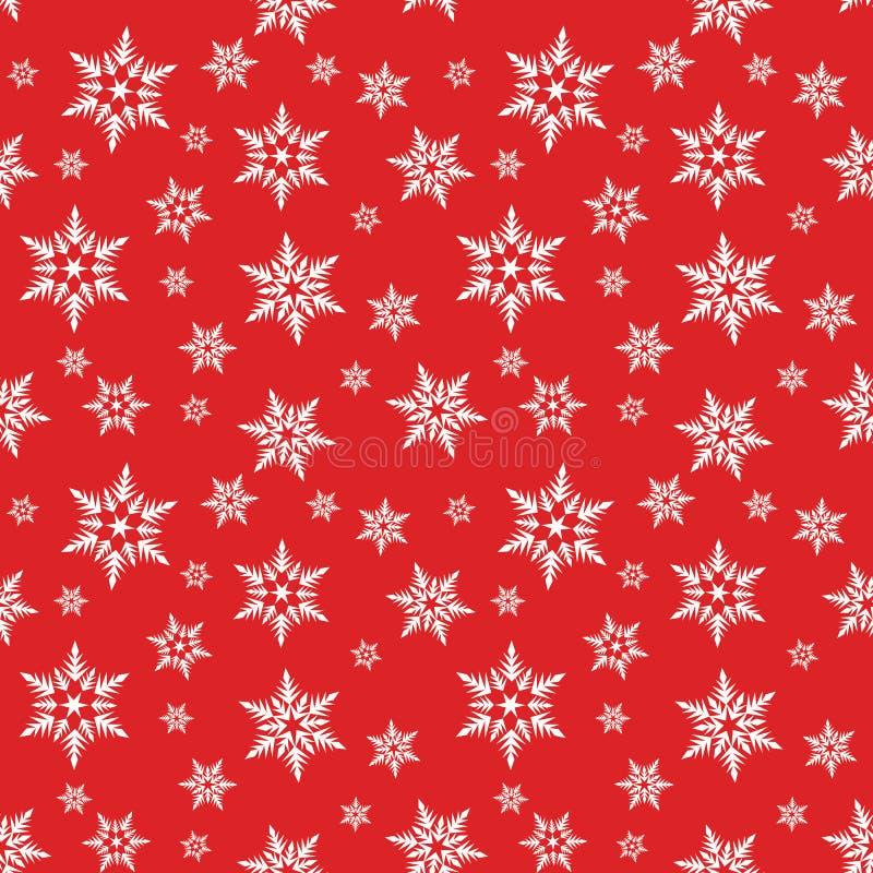 Weiße Schneeflocken schneien auf rotem Hintergrundwinter-Weihnachtsmuster lizenzfreie abbildung