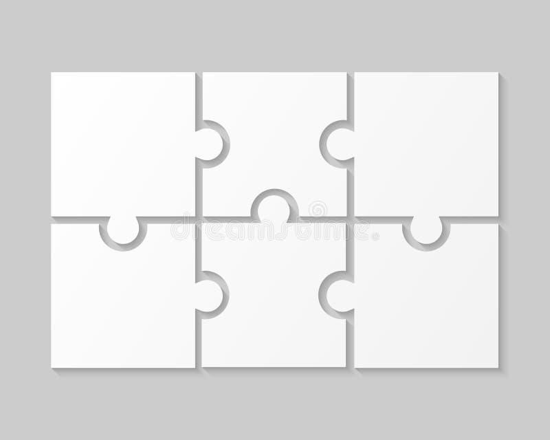 Weiße Schritte Infographic der Puzzlespiel-Stück-Laubsägen-sechs lizenzfreie abbildung