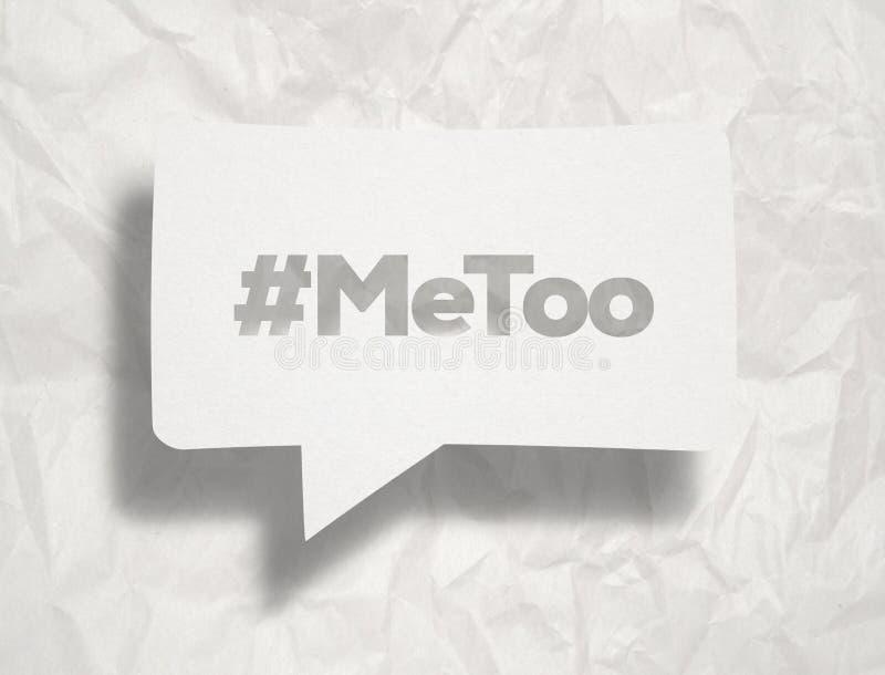 Wei?e Schw?tzchenblase ?ber zerknittertem Papier: Hashtag MeToo lizenzfreie stockfotografie