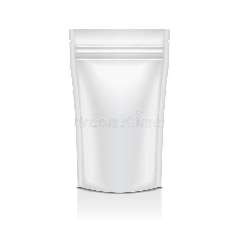 Weiße schwarze Folien-Lebensmittel oder Kosmetik Doy-Satz-Beutel-Kissen-Taschen-Verpackung mit Reißverschluss Vektor lokalisierte stock abbildung