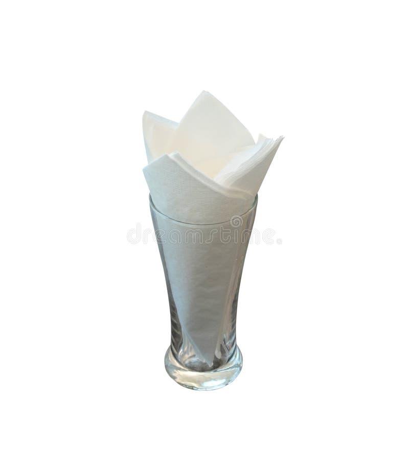 Weiße Seidenpapiere im Glas auf weißem Hintergrund stockfotos