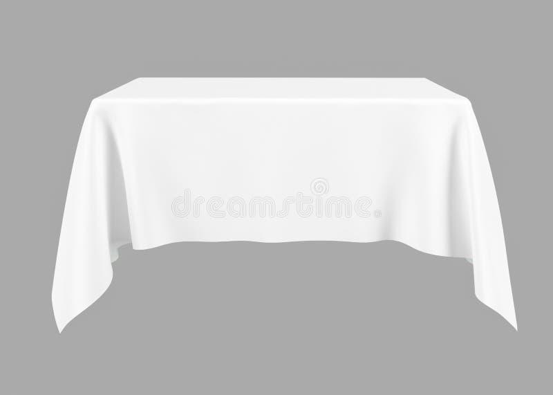 Weiße silk Tischdecke auf einem grauen Hintergrund, Modell für Design, 3d Wiedergabe, Illustration 3d stock abbildung