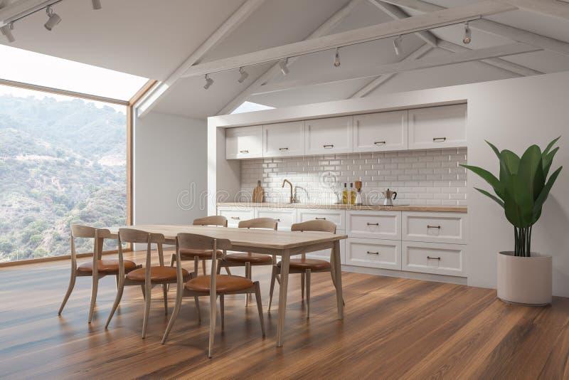 Weiße skandinavische Küche, Tabelle und Anlage stock abbildung
