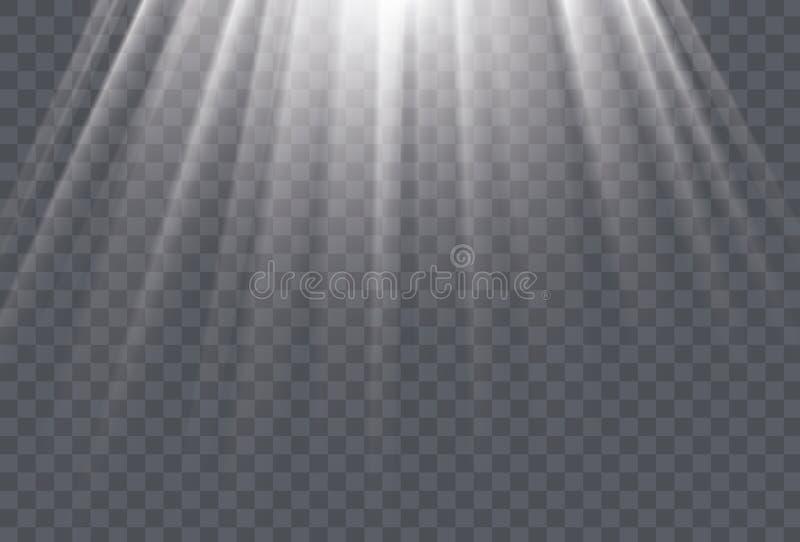 Weiße Sonnenstrahlen und Lichteffekt des Glühens auf transparenten Hintergrund vektor abbildung