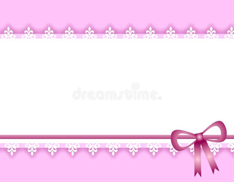 Weiße Spitze-purpurroter Farbband-Rand-Hintergrund lizenzfreie abbildung