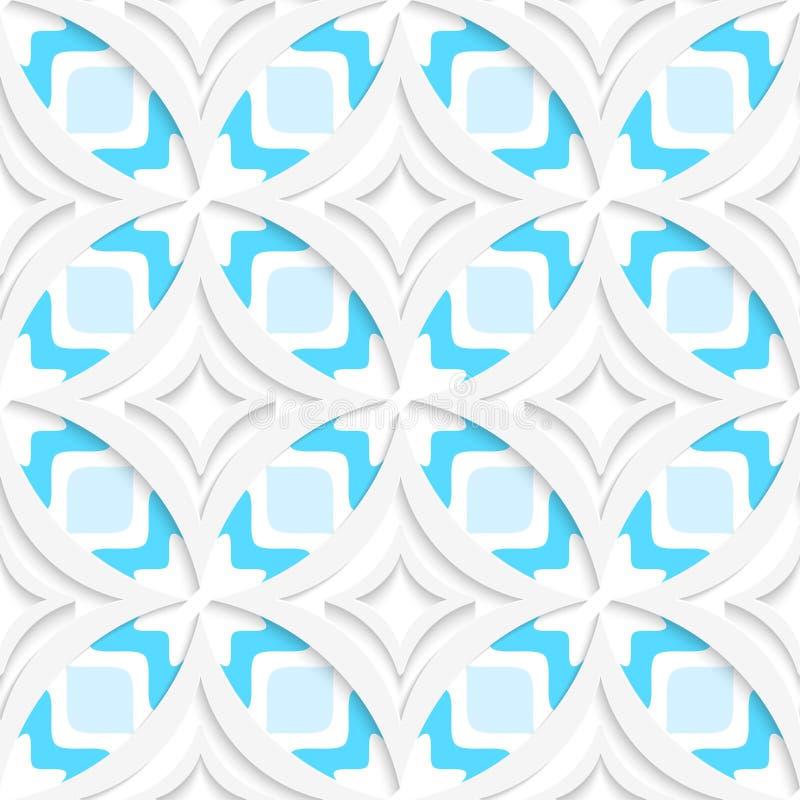 Weiße spitze Rauten mit blauem flachem nahtlosem lizenzfreie abbildung