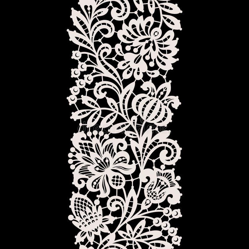 Weiße Spitze Vertikales nahtloses Muster stock abbildung