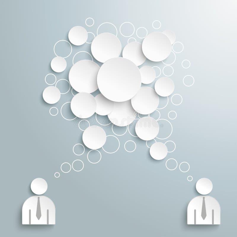 Weiße Sprache-Blase kreist 2 Geschäftsmänner ein stock abbildung