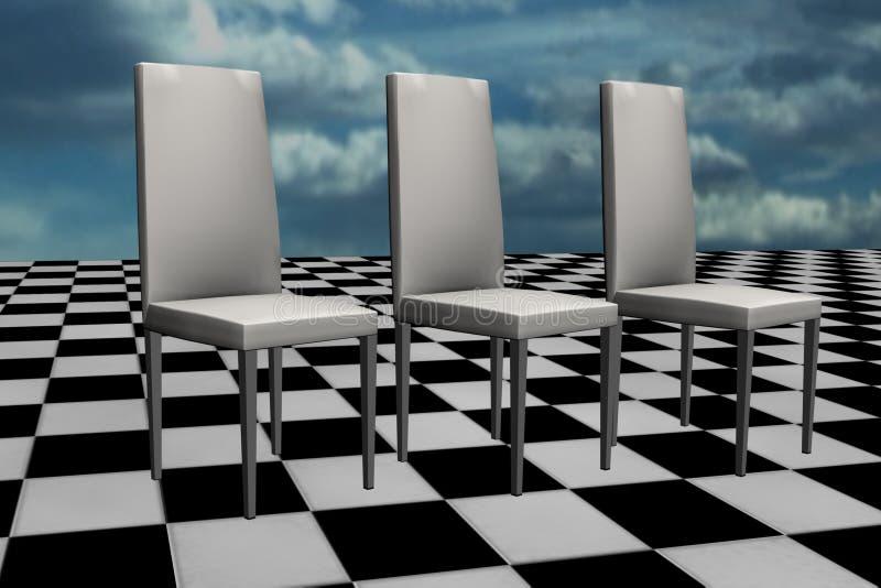Weiße Stühle auf Schachfußboden stock abbildung