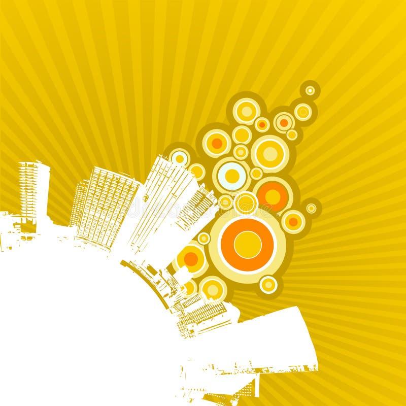 Weiße Stadt auf gelbem Hintergrund. vektor abbildung