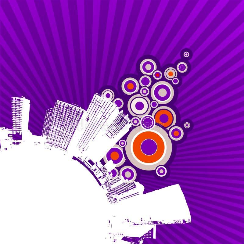 Weiße Stadt auf purpurrotem Hintergrund. lizenzfreie abbildung