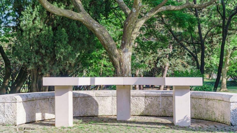 Weiße Steinbank in einem Sommerpark lizenzfreies stockfoto