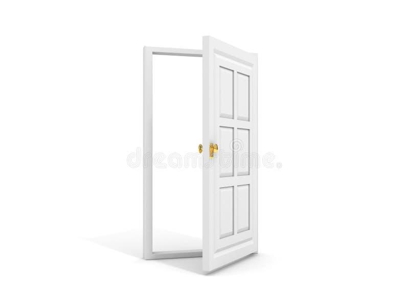 Weiße Tür geöffnet zum Weiß lizenzfreie abbildung