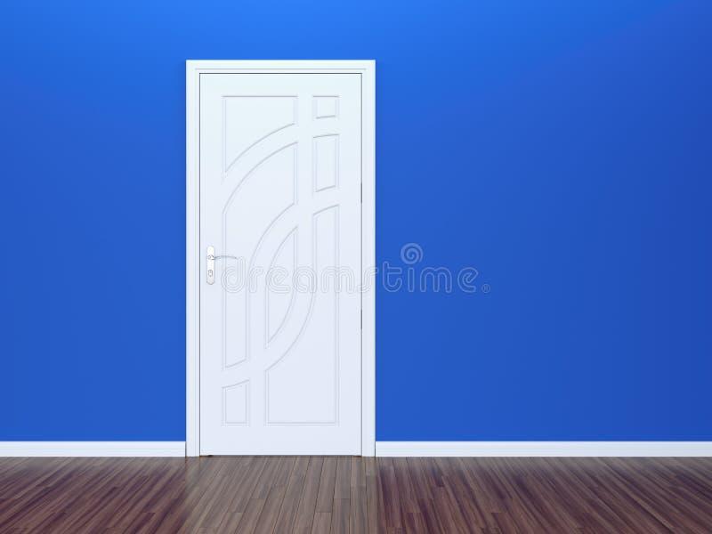 Weiße Tür und blaue Wand stock abbildung