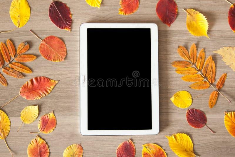 Weiße Tablette auf einem Holztisch mit buntem Herbstlaub, busi lizenzfreie stockfotografie