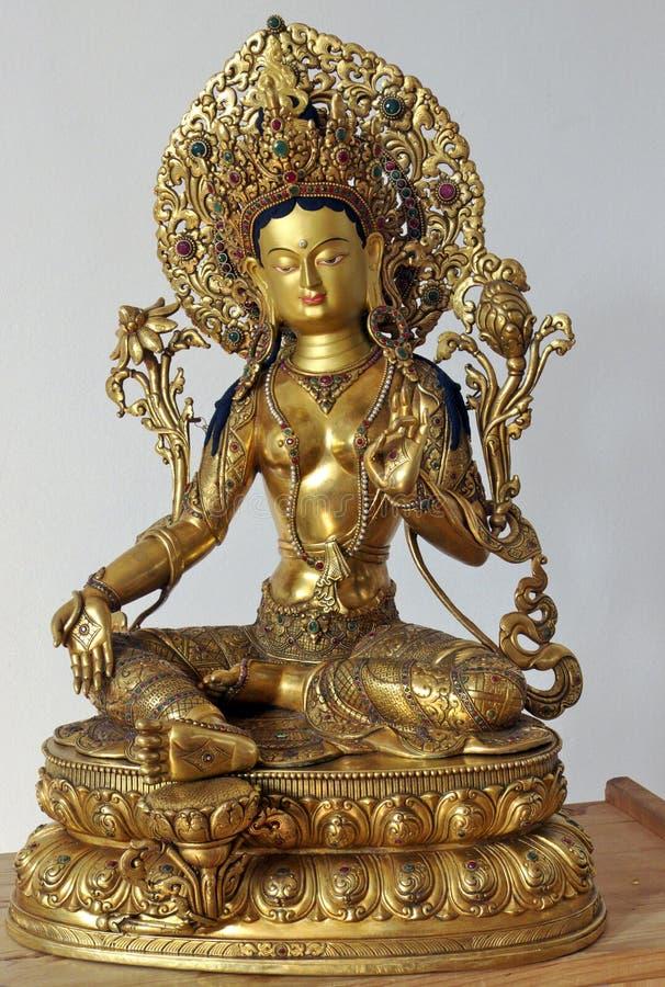 Weiße Tara-Skulptur lizenzfreies stockbild