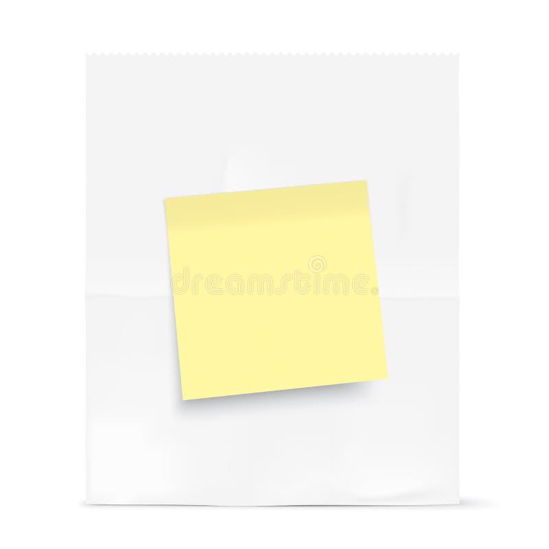 Weiße Tasche mit gelber klebriger Anmerkung stock abbildung