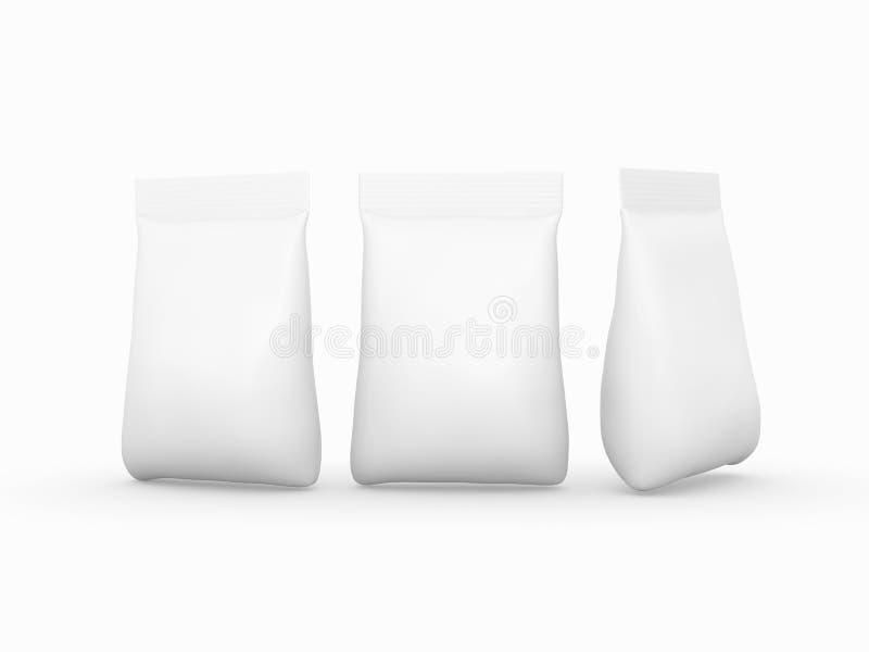 Weiße Taschenverpackung für eine große Vielfalt von Produkten mit Ausschnitt lizenzfreie abbildung