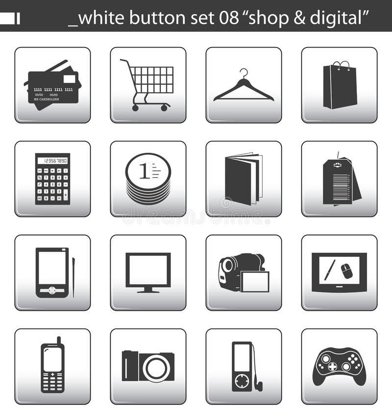 Weiße Taste stellte 08 ein lizenzfreie abbildung