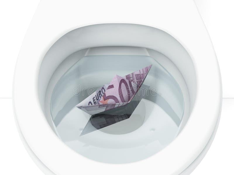 Weiße Toilette mit Boot von der Eurorechnung stockfotos