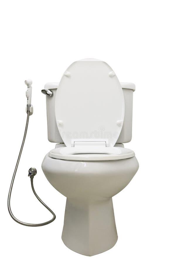 Weiße Toilettenschüssel, lokalisiert auf Weiß lizenzfreie stockbilder