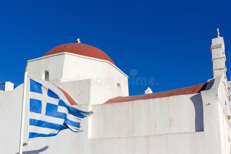 Weiße traditionelle Kirche in Mykonos stockfoto