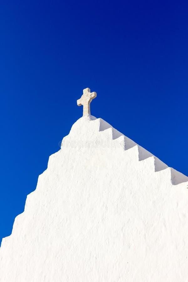 Weiße traditionelle Kirche in Mykonos lizenzfreie stockfotografie