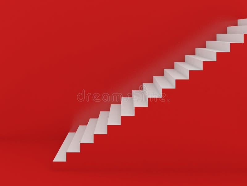 Weiße Treppe im roten Hintergrund stock abbildung